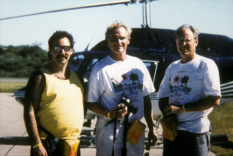 Howie Spero, Rand Schaal, and Rob Zierenberg preparing to board a helicopter to view the erupting Montserrat volcano.