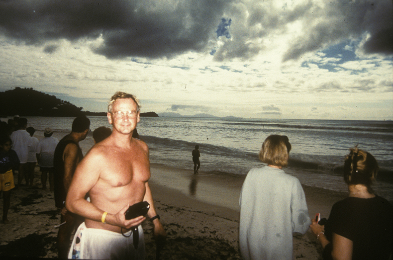 Rand Schaal on the beach on Antigua Island, Caribbean.