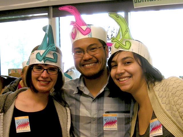 Paleo students wearing dino hats